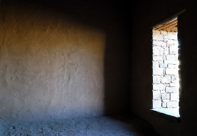 Window in the great kiva, Aztec Ruins.