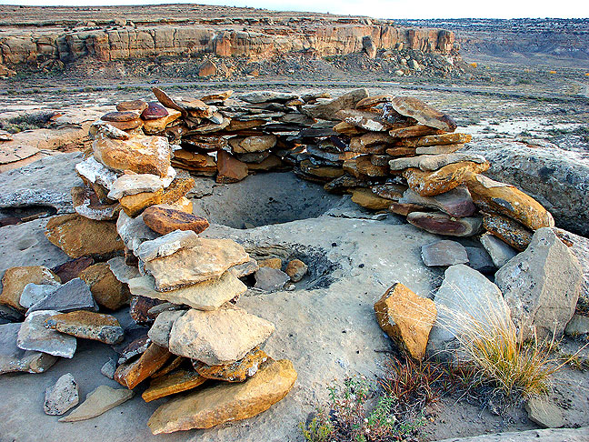 This very large ring cairn was constructed at the top of the cliff about the campground on the Chaco Canyon Overlook Trail.