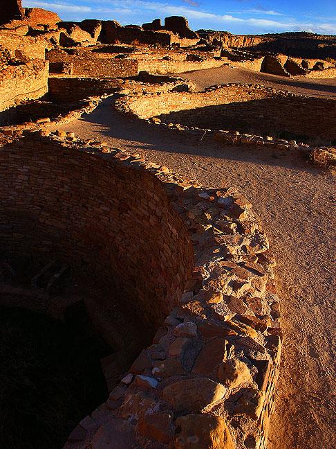 Stone walls at sunset, Pueblo Bonito great house, Chaco