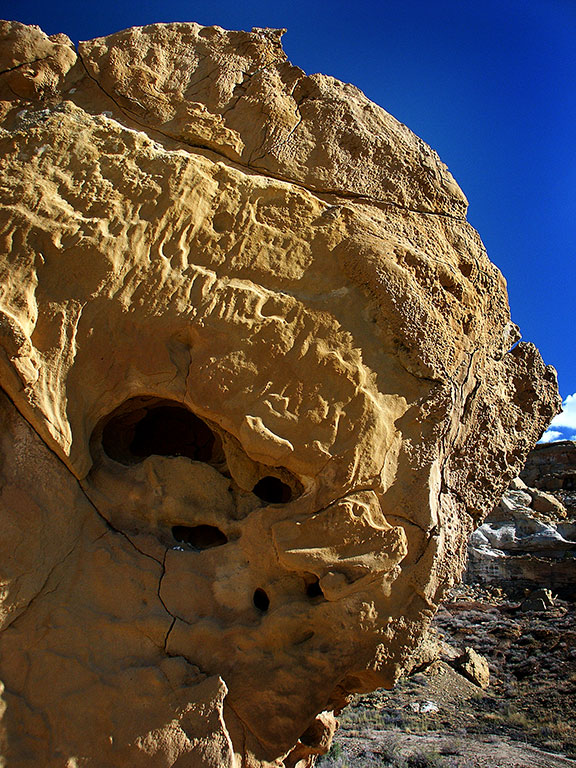 A handsome Cliff House sandstone boulder stands in afternoon sunshine on the Tsin Kletsin trail at Chaco Canyon.