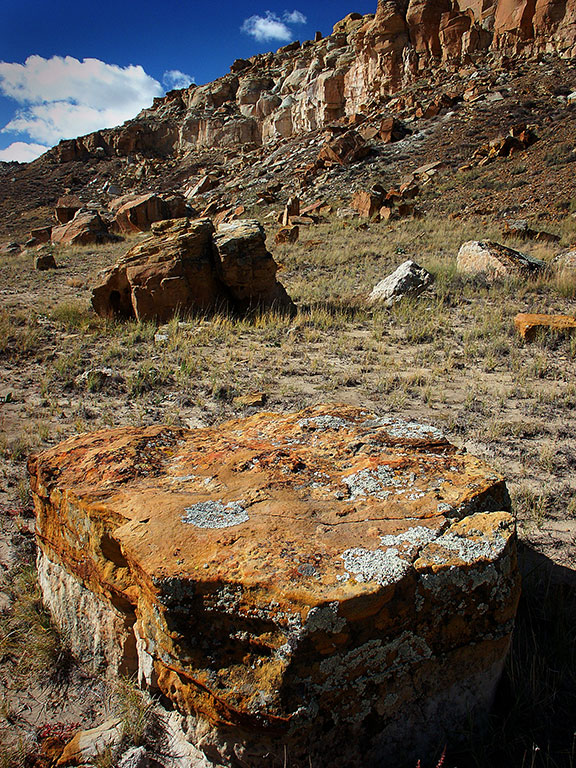 The Tsin Kletsin trail descends from South Mesa into South Gap, forming a lonely, open-desert journey.