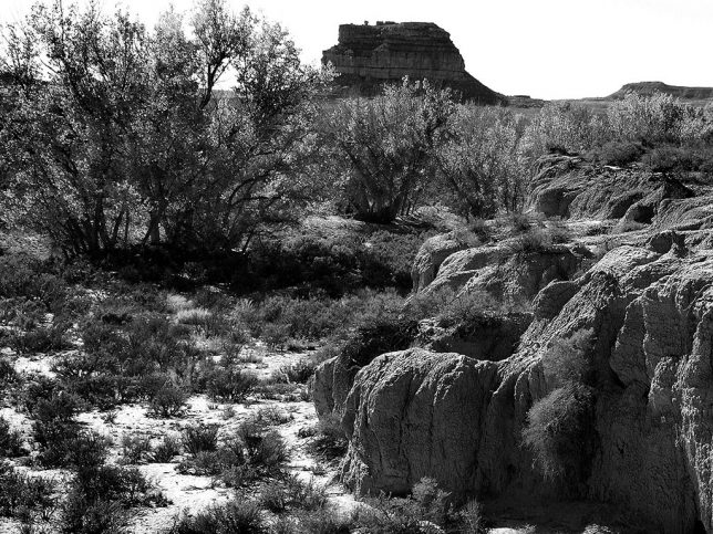 This view from the Wijiji trail shows Chaco Wash and Fajada Butte.