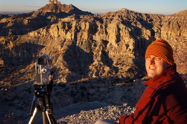 David shows patience with the cold weather as we wait for sunset at Angel Peak.