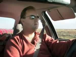 David drives his Saturn on Interstate 40 on our way to New Mexico.