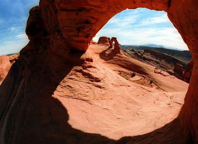 This view looks through Frame Arch at Delicate Arch.