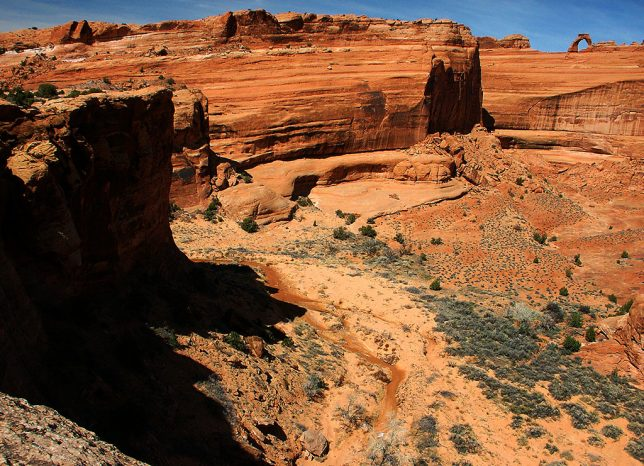 The Delicate Arch Viewpoint is separated from Delicate Arch by a beautiful, imposing group of canyons and washes.