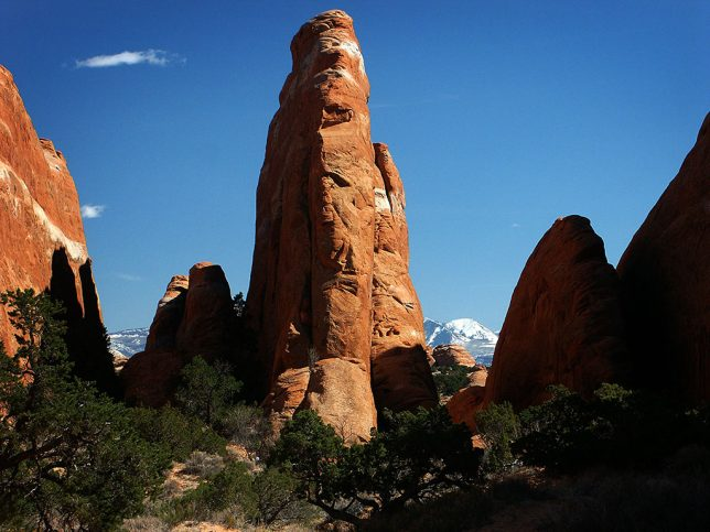 The spires of the Devil's Garden at Arches National Park stand watch against a clear blue sky.