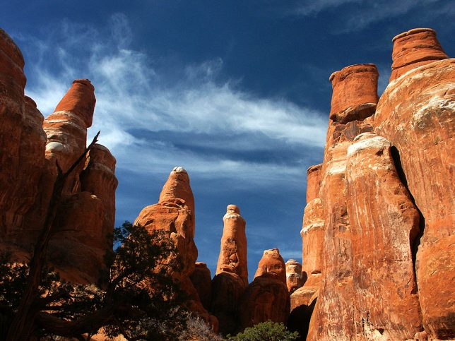 Entrada sandstone spires at The Fiery Furnace at Arches National Park are set against a perfect blue sky.