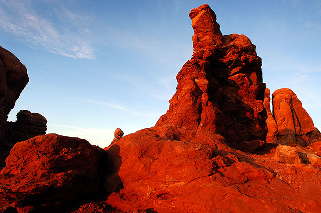 Last light shines on the Garden of Eden at Arches National Park.