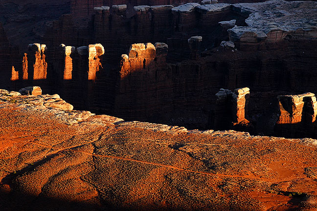 Monument Basin hangs onto last light at Canyonlands National Park's Grand View Point.