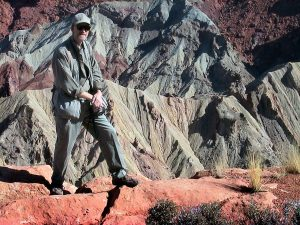 The author poses for a photo at Upheaval Dome at Canyonlands.