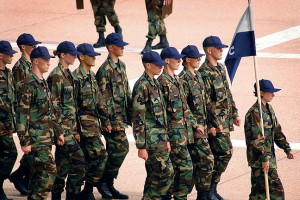 Air Force Cadets march at the Air Force Academy in Colorado Springs.