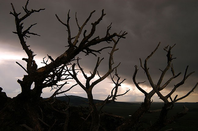 The retreating thunderstorm at Capulin Volcano National Monument created very moody skies.