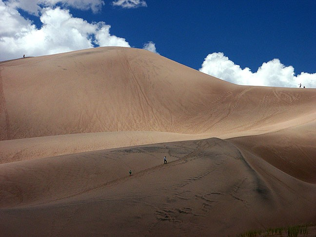 I made this image on my way up High Dune at Great Sand Dunes. There are people in this image for scale, though it should be noted that all of them gave up before reaching the top.