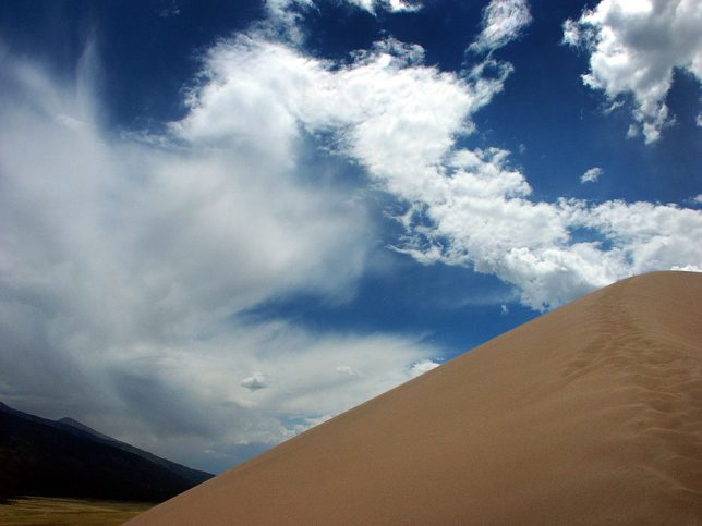As you can see, the angle of repose of the dunes is quite steep, making climbing them physically demanding.