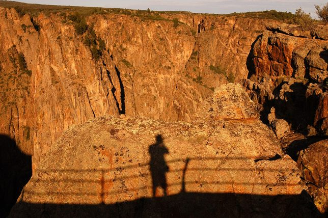 Your host's shadow at first light creates a self portrait at Black Canyon of the Gunnison.