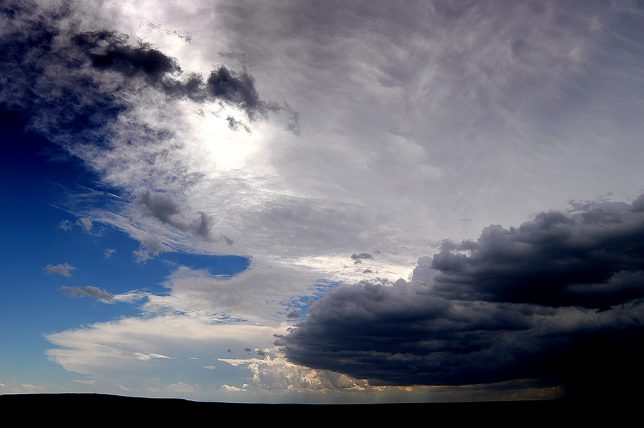 This is another view of the sprawling thunderstorm that made my Capulin Volcano light so interesting.