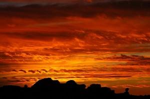 Sunset near Balanced Rock, Arches.