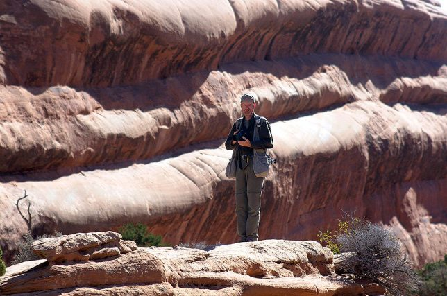 The author prowls the majesty of Arches National Park's Devil's Garden section for photos.