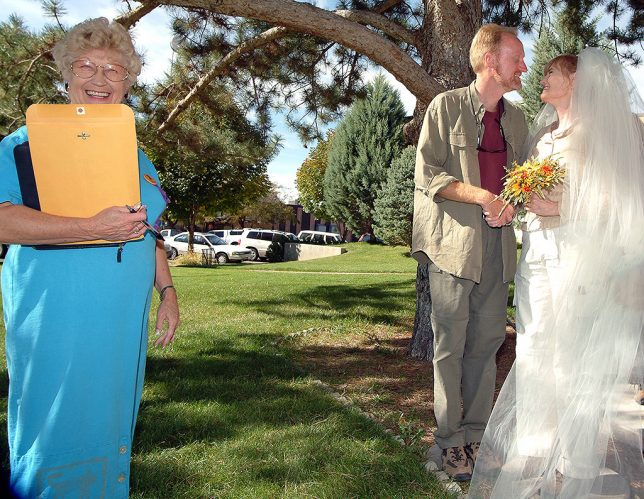Grand County Judge Fran Townsend gave us a second wedding ceremony on the courthouse lawn.