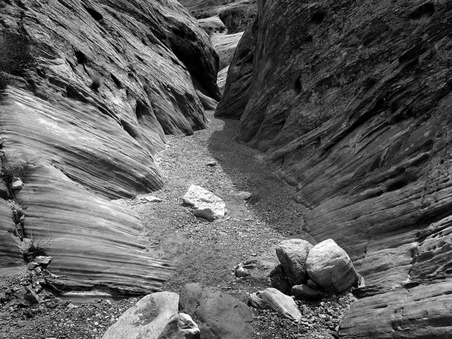 The moodier black-and-white rendition of Bell Canyon captures the cold, lonely feel of the place better.
