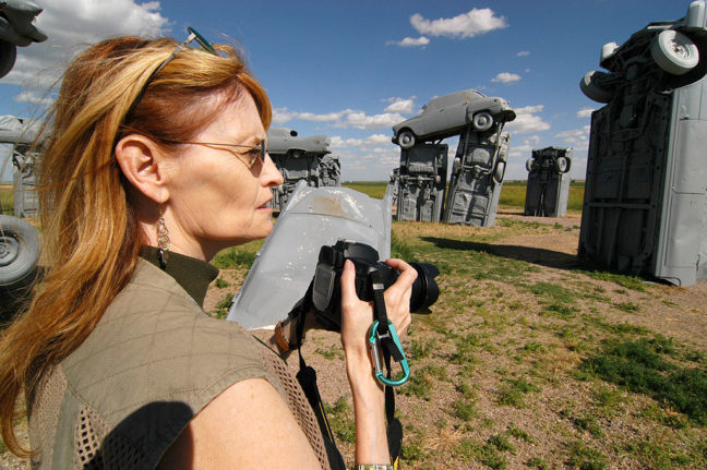 Abby photographs Carhenge in Alliance, Nebraska.