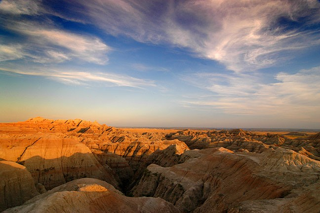 Badlands National Park sunset is seen from the Pinnacles Overlook.