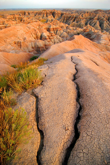 Cracks and Eroded Soil, Badlands, Sunset from the Pinnacles Overlook