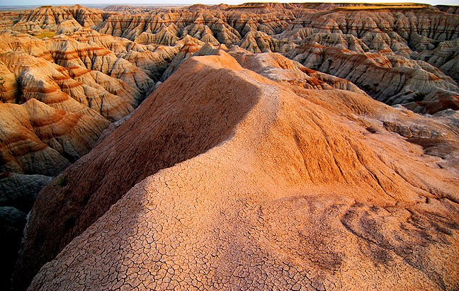 Evening light catches the erosions of Badlands National Park, South Dakota.