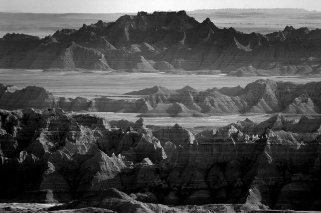 During the middle park of the day, the formations of Badlands National Park have little color, so I shot them in black and white.