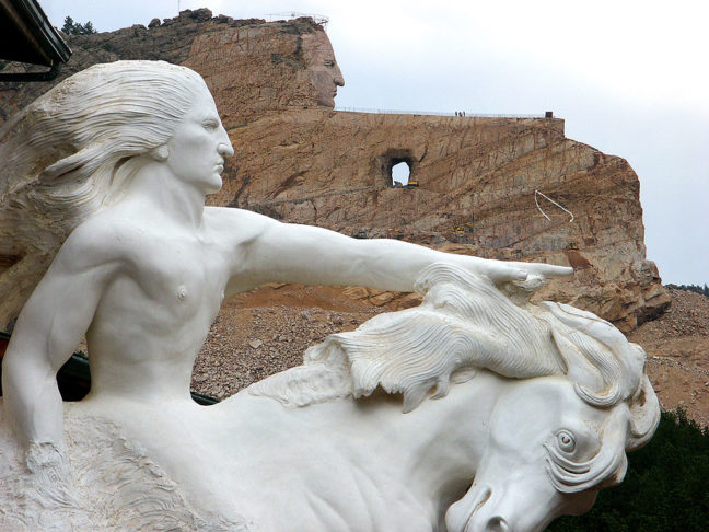 This view of the Crazy Horse Memorial shows how the mountain sculpture is supposed to eventually look.
