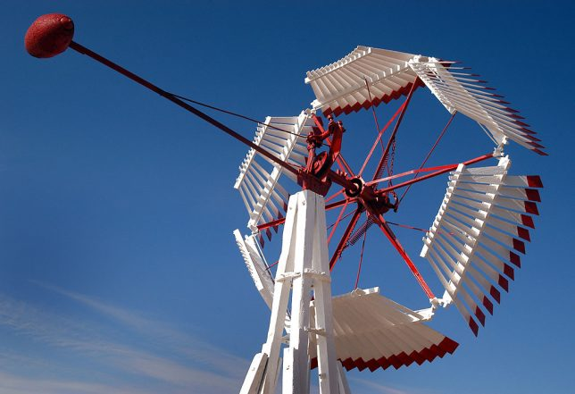 This brightly painted windmill was part of Ogallala's old west display.
