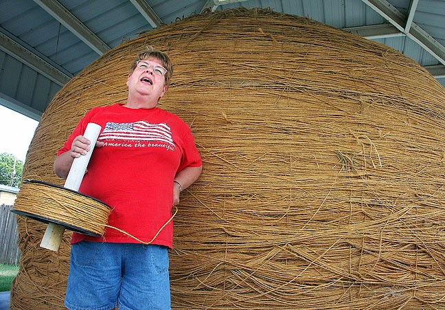 This nice lady in Cawker City, Kansas, told us all about the world's largest ball of sisal twine.