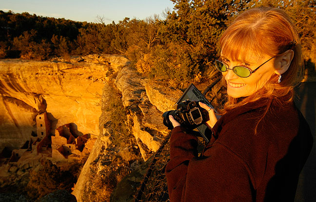 Abby photographs Square Tower House at Mesa Verde National Park at last light.