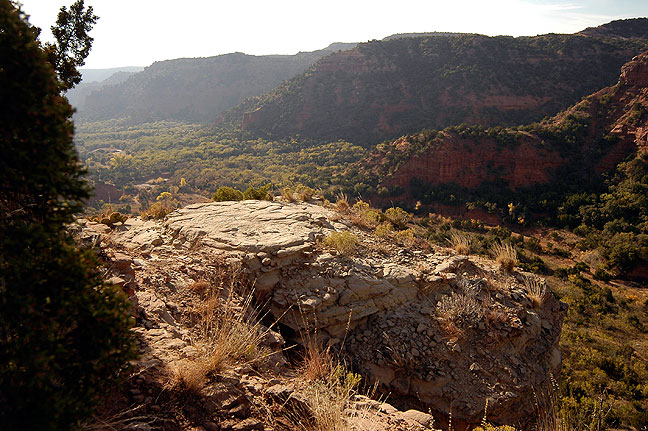 See from the top of the Upper Canyon trail, this view gives an idea of the overall topography of the area.