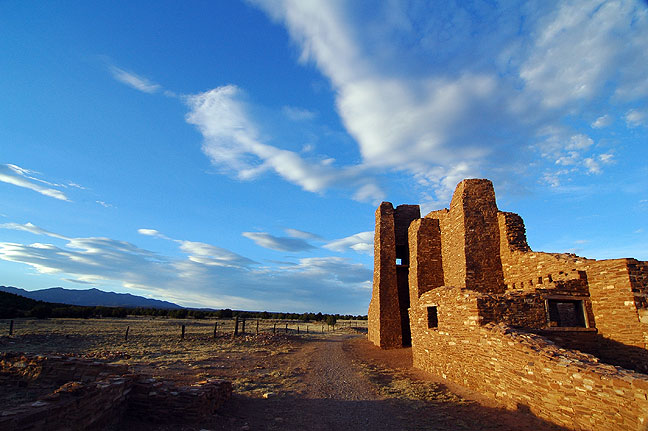 Day five was mostly a driving day. I drove from Green River, Utah, to Socorro, New Mexico, stopping on the way to photograph the Abo Ruin in the Salinas Pueblo Missions National Monument at sunset.