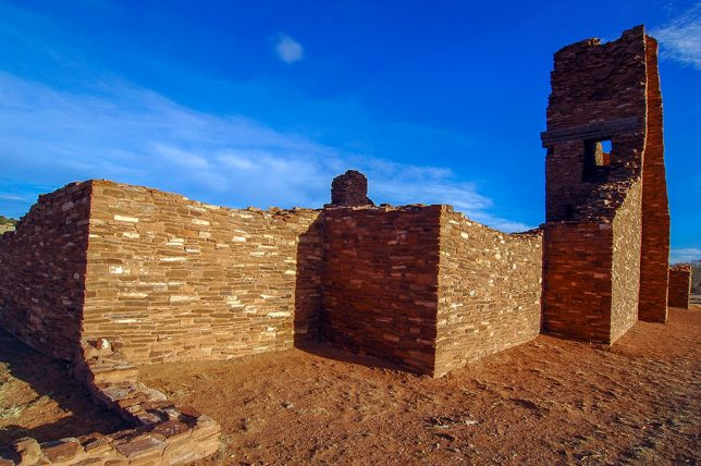 The handsome masonry of the Abó Ruin shines in later afternoon sunshine.