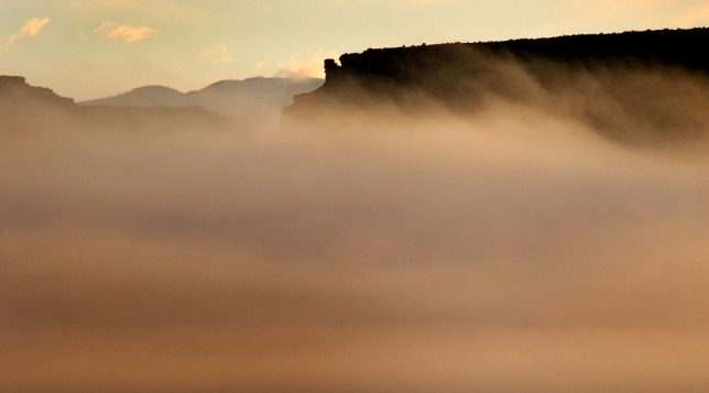 The Book Cliffs near Green River were repeatedly obscure and revealed as I photographed them early in the morning.