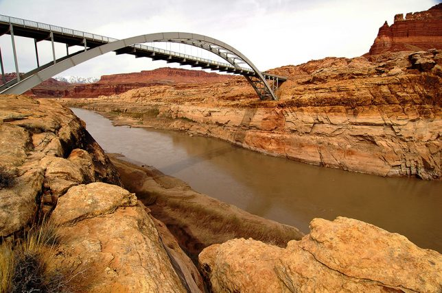 I prowled along the banks of the Colorado to get lower views of the bridge.