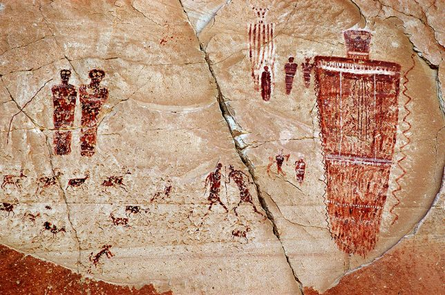The Great Gallery is a complex, well-preserved pictograph collection.