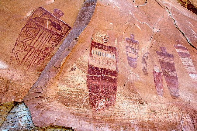 The Great Gallery, Horseshoe Canyon, Canyonlands National Park. It was near this feature that injured canyoneer Aron Ralston, who had amputated his own arm after four days pinned by a boulder, asked for a medical helicopter.