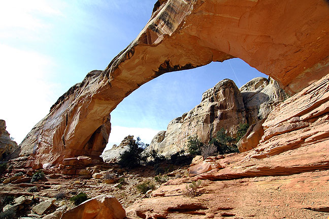 A spur option from the Rim Overlook trail at Capitol Reef leads to the large and impressive Hickman Bridge, a natural arch which measures 72 feet high and 133 feet in span.