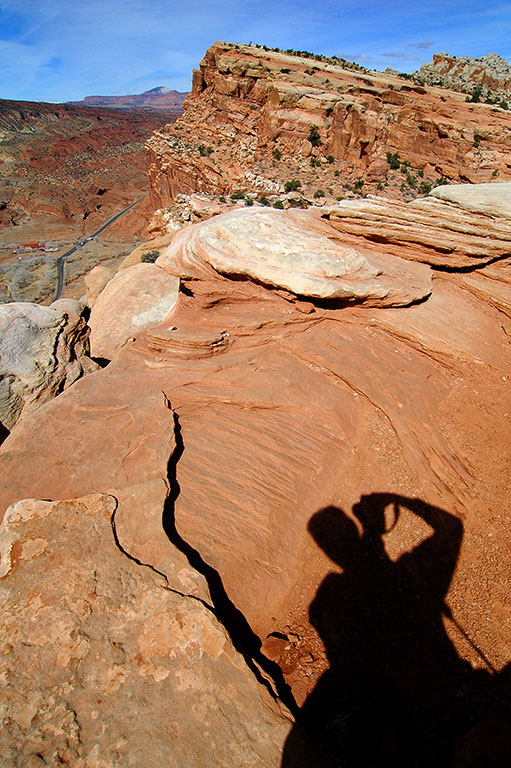 I made this shadow self portrait looking west at the Rim Overlook.