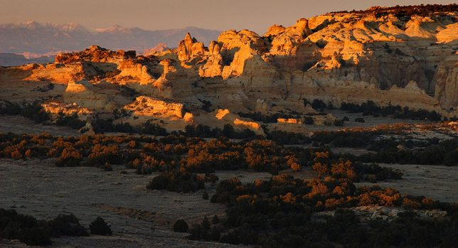 Pinnacles of the San Rafael Swell shine at last light near Eagle Canyon.