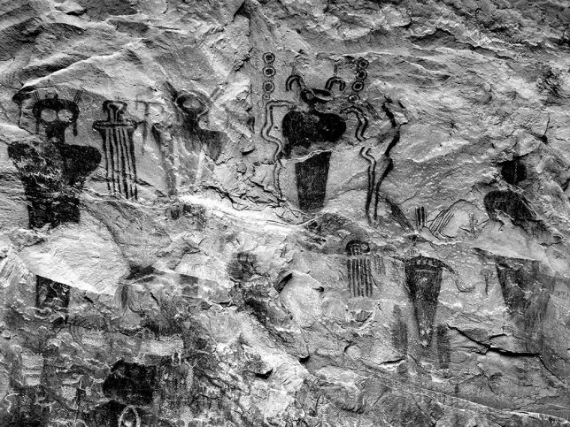 These are the Sego Canyon petroglyphs I was trying to find. I drove right past them and got my car temporarily stuck in some tenacious mud.