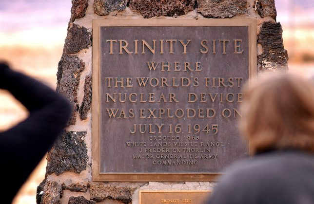 The timing of this segment of my trip was to allow me to visit the Trinity Site, which, as the sign explains, is where the first atom bomb was exploded. In the middle of the forbidding Jornada del Muerto desert and the White Sands Missile Range, the 51,500-acre area was declared a national historic landmark in 1975. The Site is open only on the first Saturday in April and the first Saturday in October. No reservations are required, but I would urge visitors to arrive early - there was a surprisingly large contingent of tourists waiting at the Stallion Gate on the north end of the WSMR when it opened at 8 a. m.