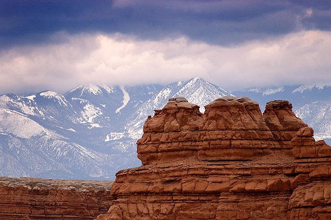 Towering hoodoos and Henry Mountains, Utah highway 24.