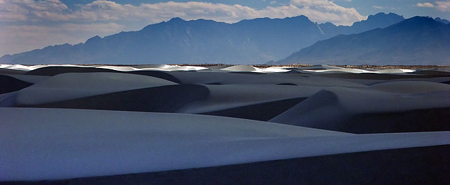 White Sands National Monument with the San Andres Mountains in the distance.