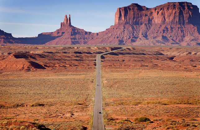 U.S. 191 stretches into Arizona in this view looking south as we approach Monument Valley Tribal Park.