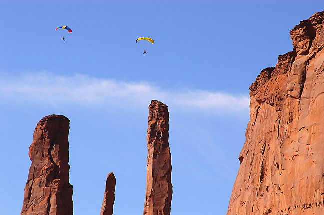 Powered paragliders near John Ford's Point, Monument Valley, Arizona.